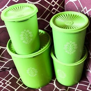 Vintage 1970s Avocado GREEN Canisters Tupperware